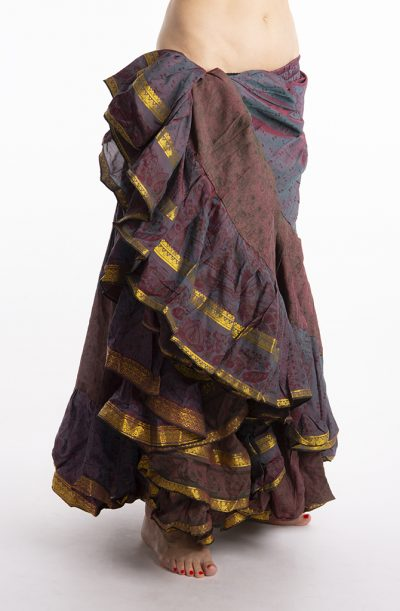 25 Yard Silk Sari Tribal Skirt - Teal & Plum