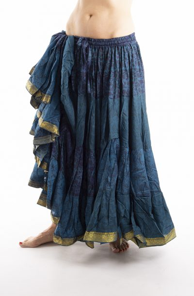 25 Yard Silk Sari Tribal Skirt - Blue & Purple