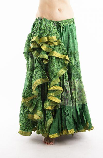 25 Yard Silk Sari Tribal Skirt - Emerald Green