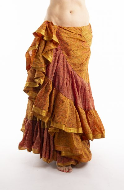25 Yard Silk Sari Tribal Skirt - Burnt Orange