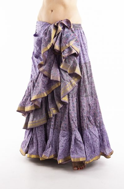 25 Yard Silk Sari Tribal Skirt - Lilac