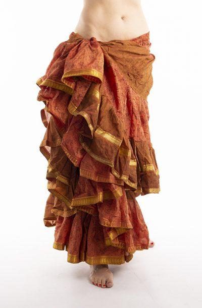 25 Yard Silk Sari Tribal Skirt - Cinnamon