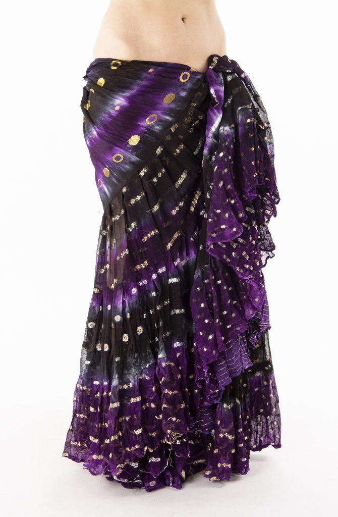 Bollywood 22yrd Skirt - Black & Purple