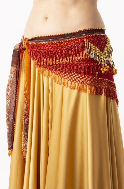 Belly Dance Hip Belt - Orange & gold