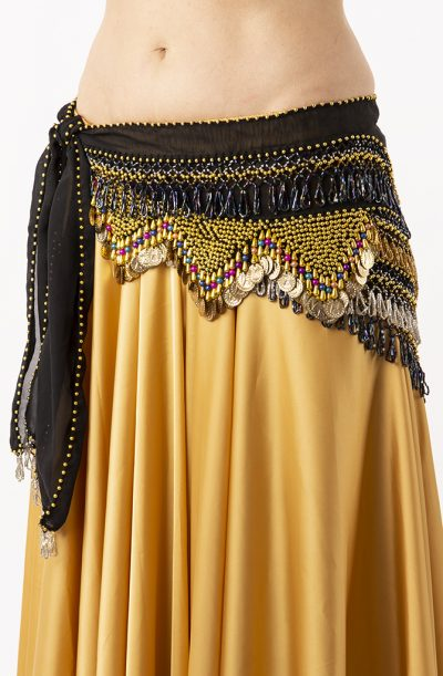 Belly Dance Hip Belt - Black, Gold & Multicoloured Beads
