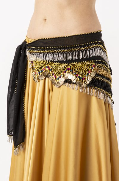 Belly Dance Hip Belt - Black, Multicoloured & Gold Beads