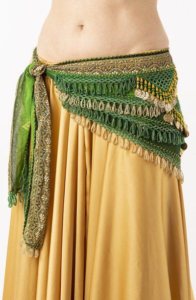 Belly Dance Hip Belt - Green & Gold