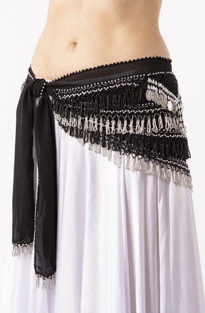 Belly Dance Hip Belt - Black & Silver