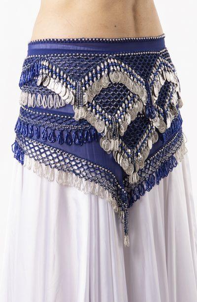 Belly Dance Hip Belt - Blue & Silver
