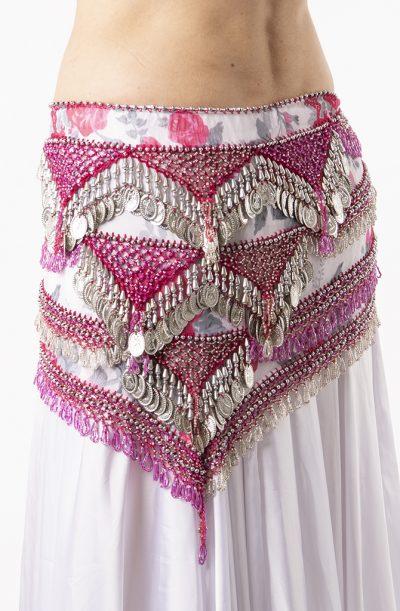Belly Dance Hip Belt - Pink Rose & Silver