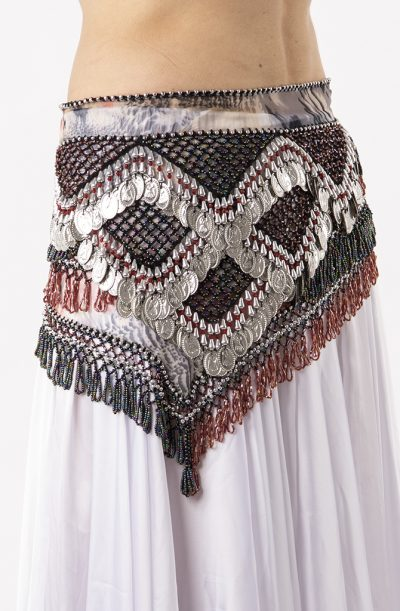 Belly Dance Hip Belt - Grey, Dusty Pink & Silver