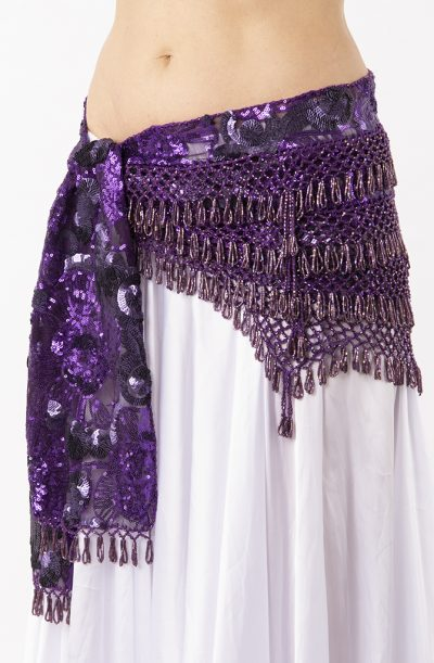 Belly Dance Hip Belt - Micro Sequin Purple 2