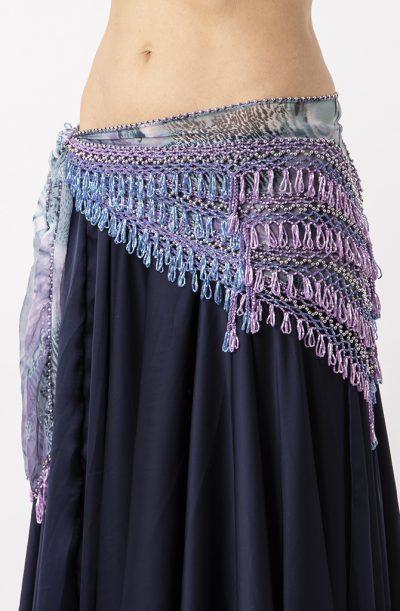 Belly Dance Hip Belt - Blue, Lilac & Silver