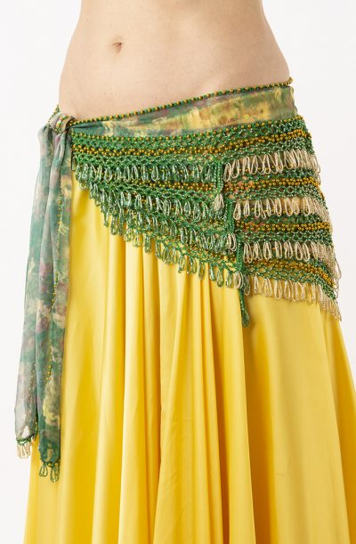 Belly Dance Hip Belt - Green, Silver & Gold
