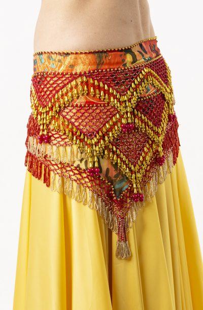 Belly Dance Hip Belt - Red & Gold