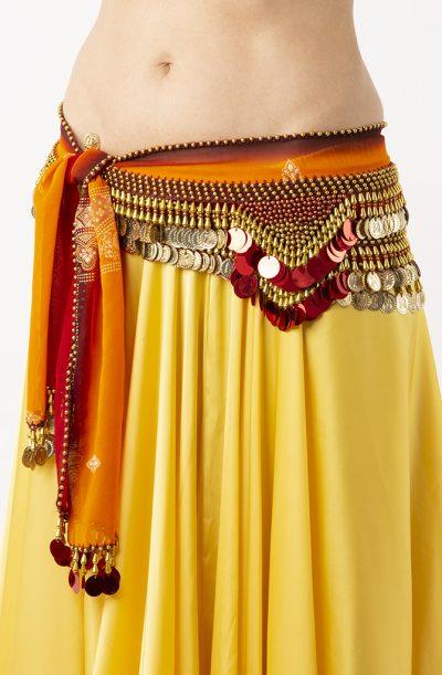Belly Dance Hip Belt - Red, Orange & Gold