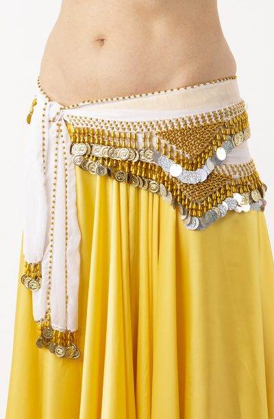 Belly Dance Hip Belt - White & Gold