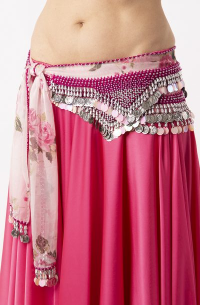Belly Dance Hip Belt - Pink Flower & Silver