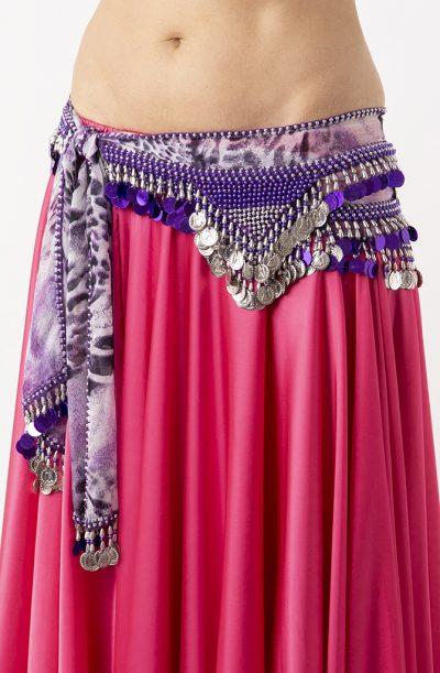 Belly Dance Hip Belt - Purple & Silver
