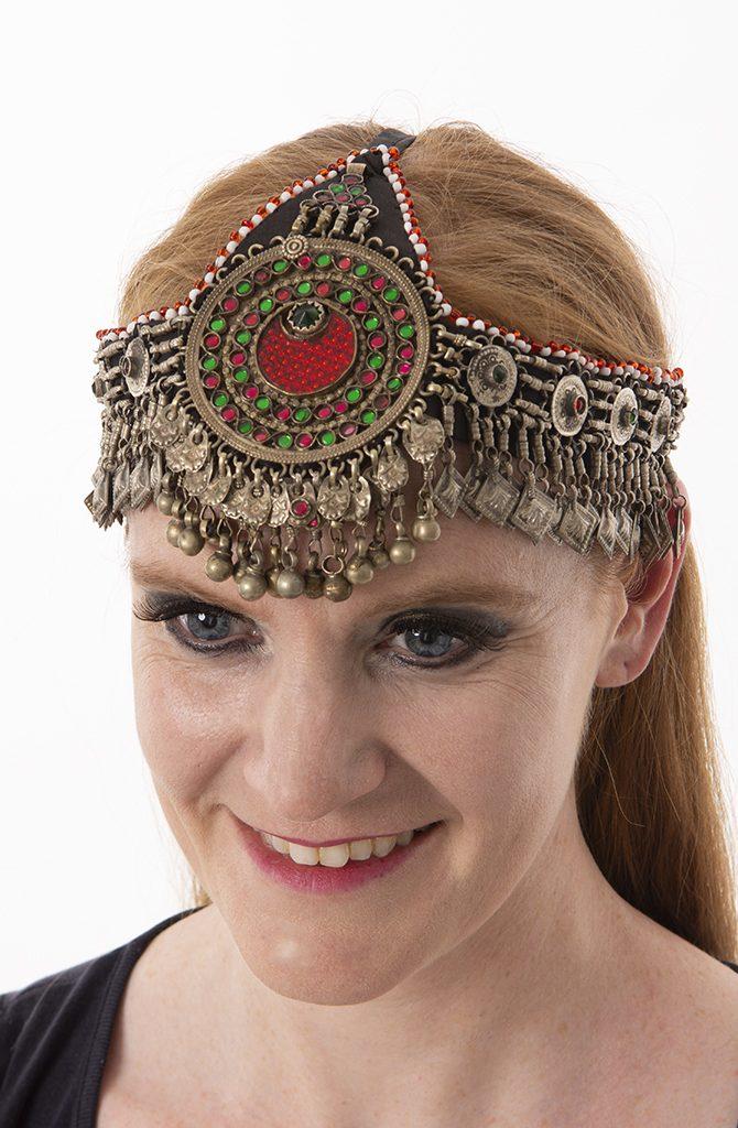 Old Kuchi Headdress - Red & Green