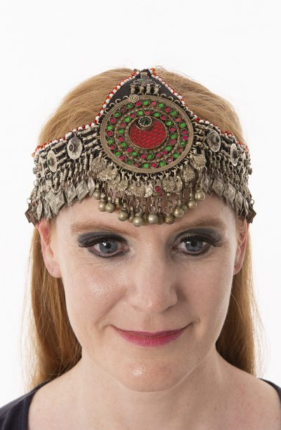 Old Kuchi Headdress - Red & Green