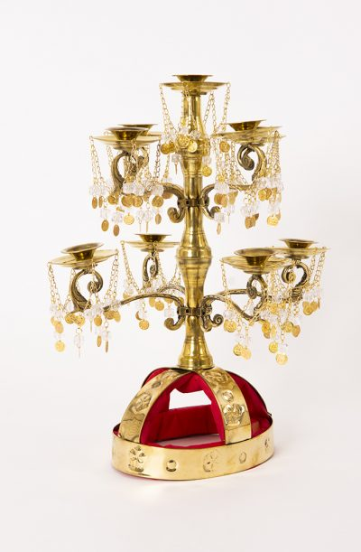 9 Candle Shamadan with Crystals - Brass