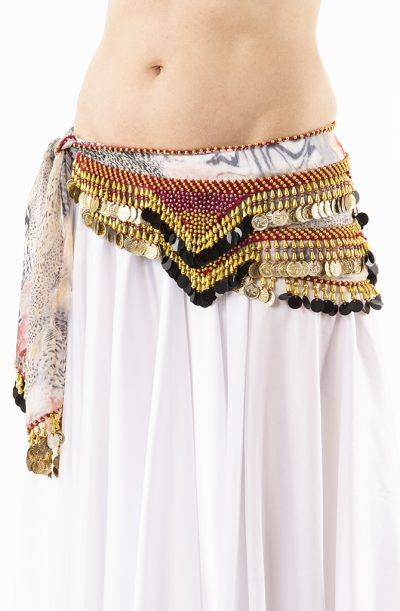 Belly Dance Hip Belt - Wine Red & Gold