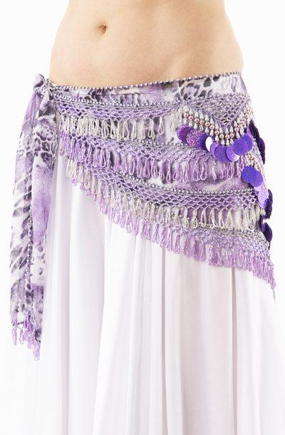 Belly Dance Hip Belt - Purple Animal & Silver