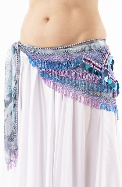 Belly Dance Hip Belt - Dusty Blue & Silver