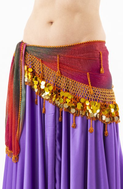 Belly Dance Hip Belt - Orange Sparkle