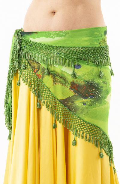 Belly Dance Hip Belt - Green Flower - X-large