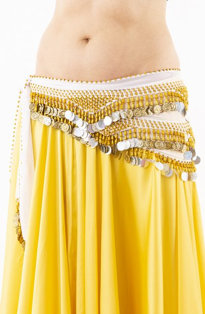 Belly Dance Hip Belt - White, Gold & Silver