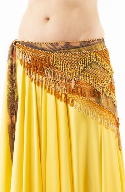 Belly Dance Hip Belt - Orange, Chocolate & Gold