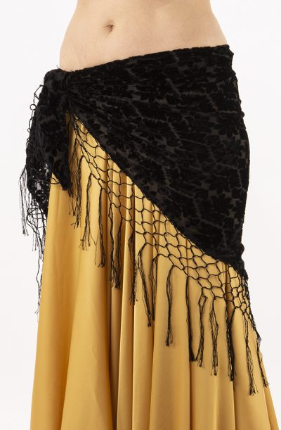 Devoré Hip Scarf - Black Fringe