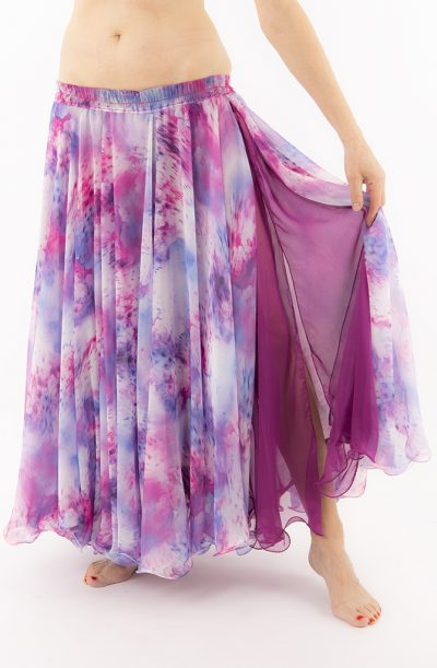 Double Chiffon Skirt - Multi & Magenta