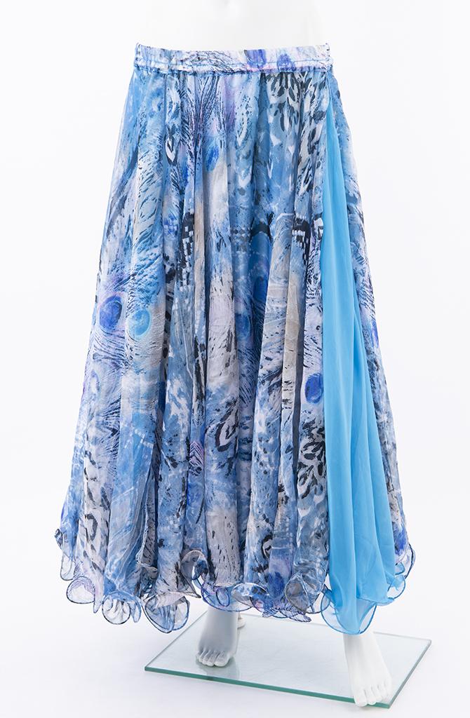 Double Chiffon Skirt - Blue Abstract Print