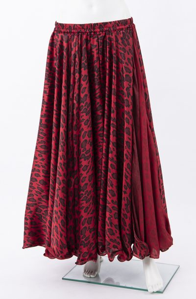 Silky Satin Skirt - Red & Black Animal