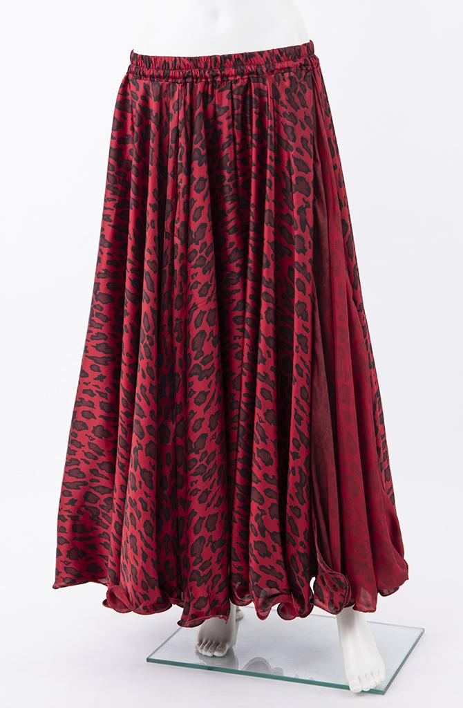 Silky Satin Skirt - Red & Black Animal