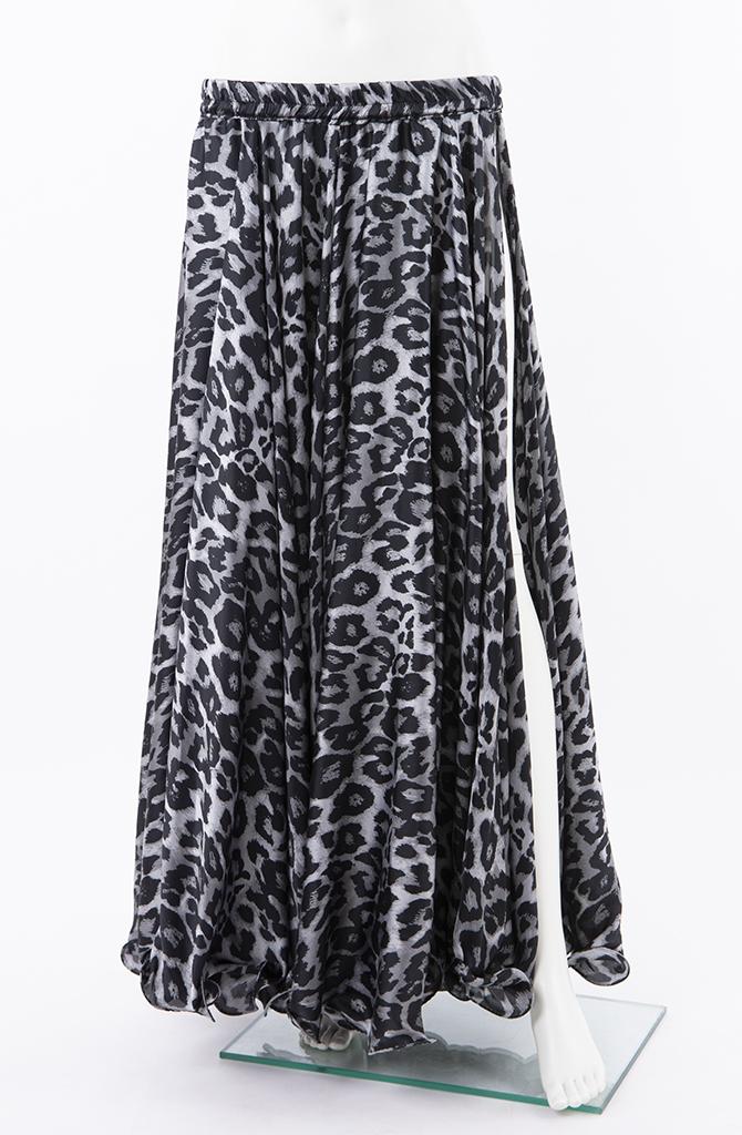 Silky Satin Skirt - Slate & Black Animal