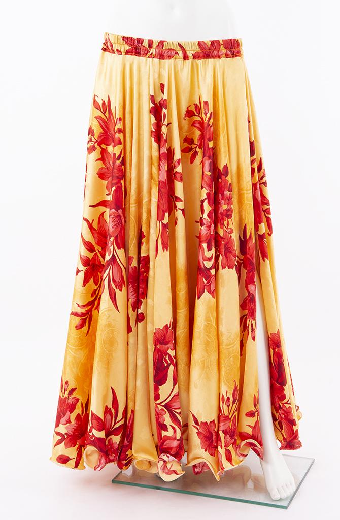 Silky Satin Skirt - Red & Gold Flower Print