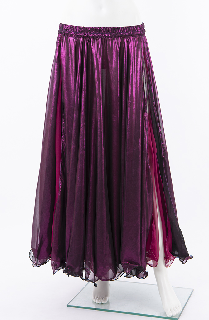 Shiny Double Chiffon Skirt - Magenta