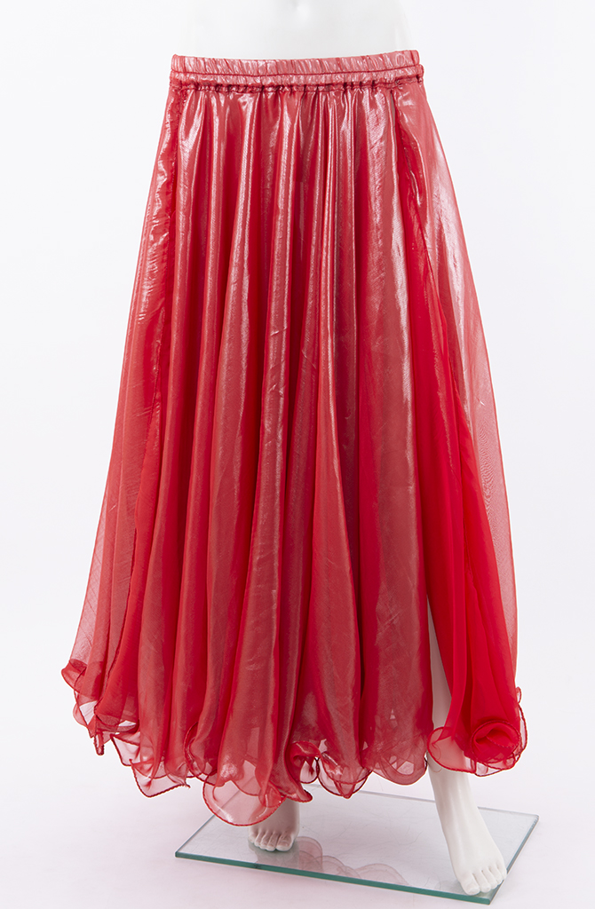 Shiny Double Chiffon Skirt - Red