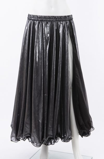 Shiny Double Chiffon Skirt - Black