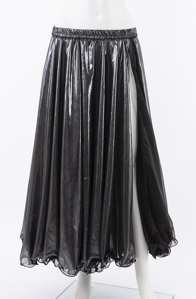Shiny Double Chiffon Skirt - Black