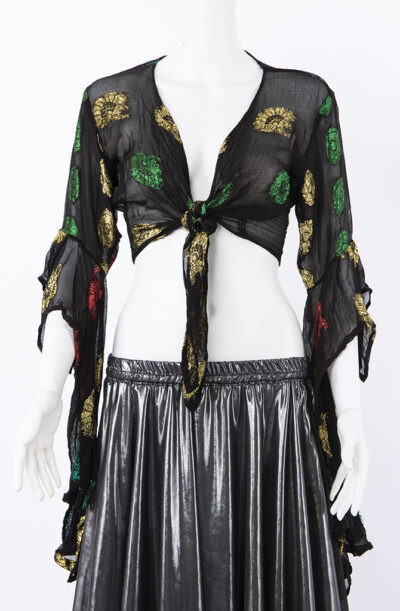 Gypsy Tie Top with Drape Sleeves - Small/Medium