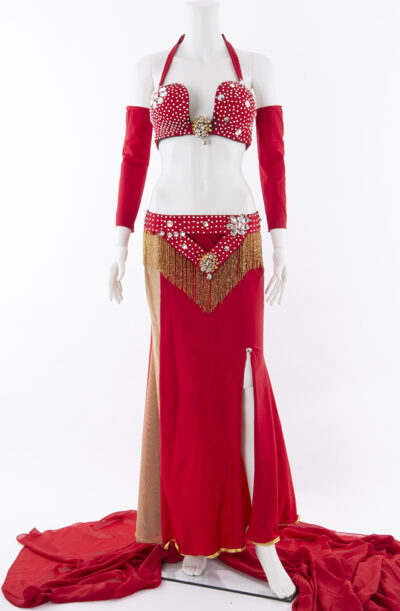 belly dance costume red diamanté
