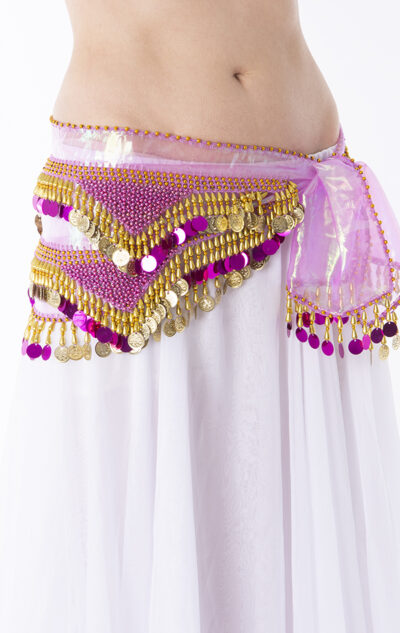 Belly dance hip belt pink & gold